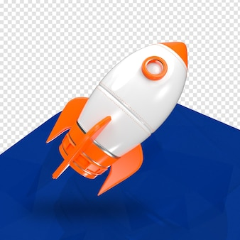 Rocket orange 3d rechts für die komposition