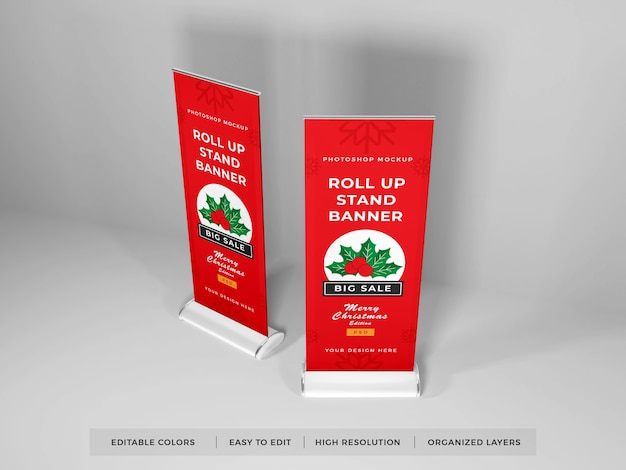 Roll up banner mockup design isoliert