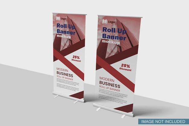Roll-up banner mockup seitenansicht