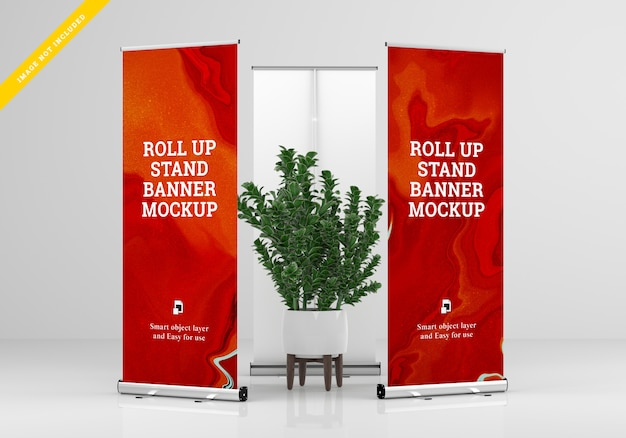Roll up banner stand mockup. vorlage psd.
