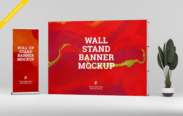 Roll up banner und wall stand banner mockup.