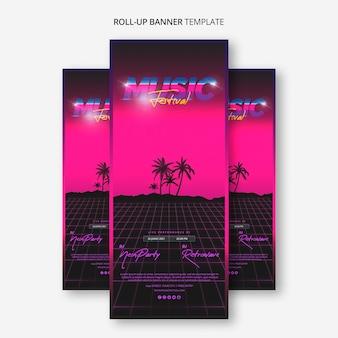 Roll up banner vorlage für 80er jahre musikfestival