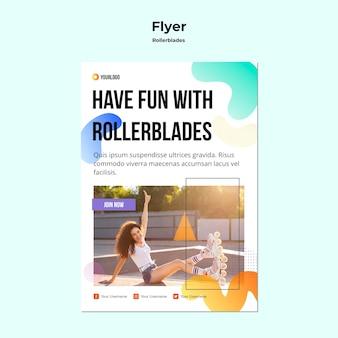 Rollerblades konzept flyer vorlage