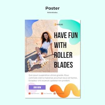 Rollerblades konzept poster vorlage