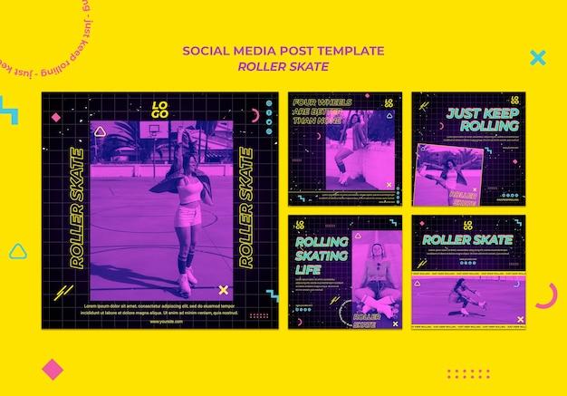 Rollschuh-konzept social media post vorlage