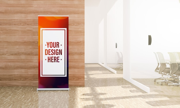 Rollup im minimalistischen bürohalle-modell