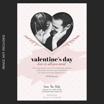 Romantische, kreative, moderne und grundlegende einladung zum valentinstag, grußkarte und fotomodell