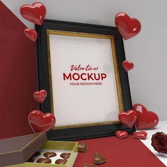 Romantischer fotorahmen des valentinstag 3d mit schokoladenblumen- und herzverzierungsmodell