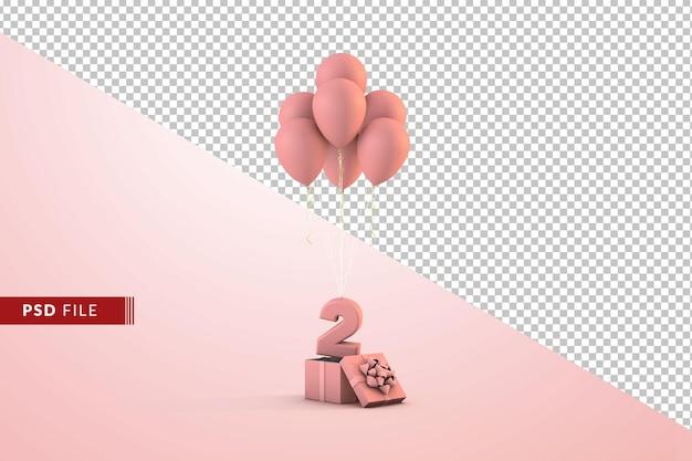 Rosa alles gute zum geburtstag dekoration nummer 2 mit geschenkbox und luftballons isoliert