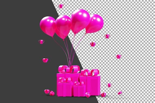Rosa box geschenke mit rosa luftballons 3d-rendering isoliert
