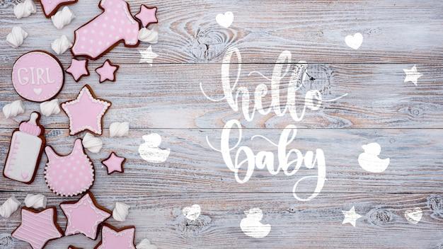 Rosa dekorationen der babyparty