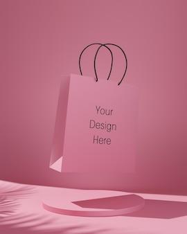 Rosa einkaufstaschenmodell mit schatten der tropischen bäume