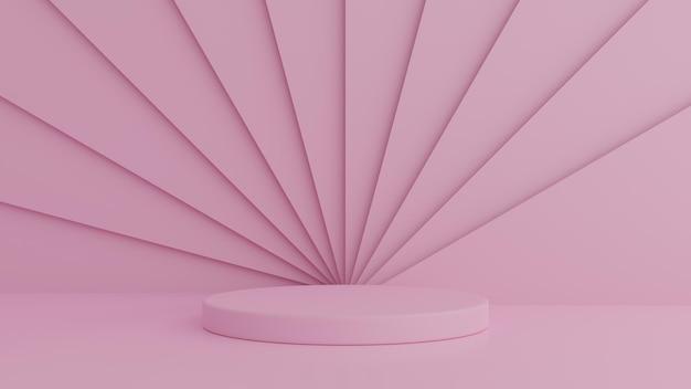 Rosa farbpodest der abstrakten geometrieform auf rosa farbhintergrund für produkt. minimales konzept. 3d-rendering