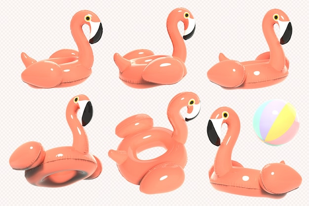 Rosa flamingo-rettungsring 3d übertragen