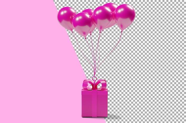 Rosa geschenkbox mit rosa luftballons 3d-rendering isoliert