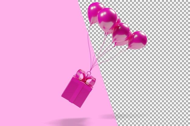 Rosa geschenkfliegen mit rosa luftballons 3d-rendering isoliert