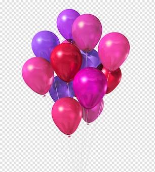 Rosa luftballons 3d, die lokal auf weiß schwimmen