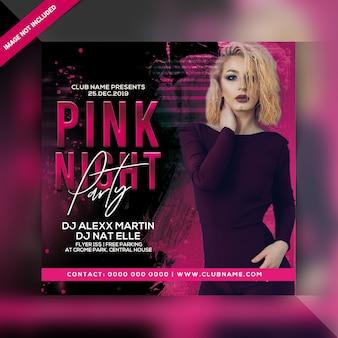 Rosa nachtparty flyer