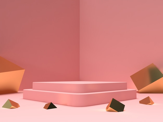 Rosa pastell- und goldprodukt des 3d-renderings stehen auf hintergrund