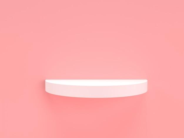 Rosa pastell- und weißprodukt des 3d-renderings stehen auf hintergrund.