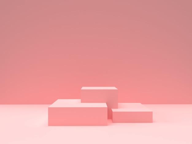 Rosa pastellproduktstand auf hintergrund. abstraktes konzept der minimalen geometrie
