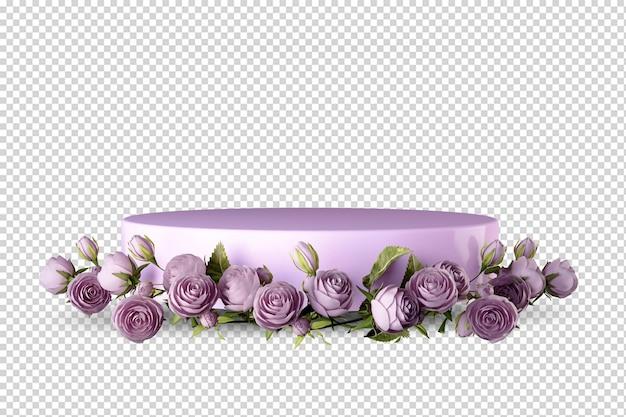 Rosa podium mit rosen in der 3d-darstellung isoliert