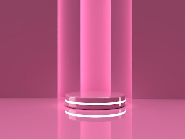 Rosa produktstand des 3d-renderings auf hintergrund.