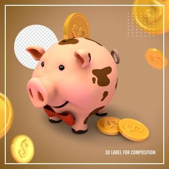 Rosa schweinetresor mit münzen Premium PSD