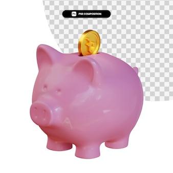Rosa sparschwein mit taka-münze 3d-rendering isoliert