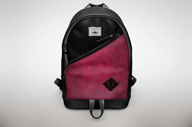Rosa und schwarzer bagpack mock up up