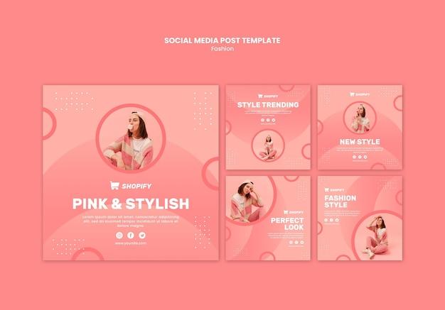 Rosa und stilvoller social-media-beitrag
