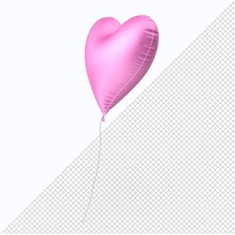 Rosa valentinstag-folienballonherz isoliert