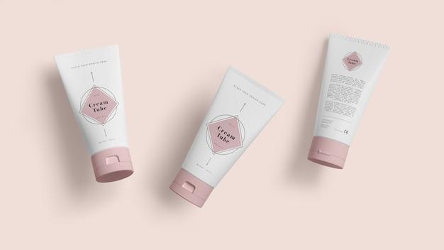 Rosa verpackung von kosmetischen produkten