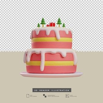 Rosa weihnachtskuchen im tonstil mit baum und geschenkbox 3d-darstellung