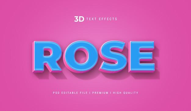Rose 3d textstil-effektschablone