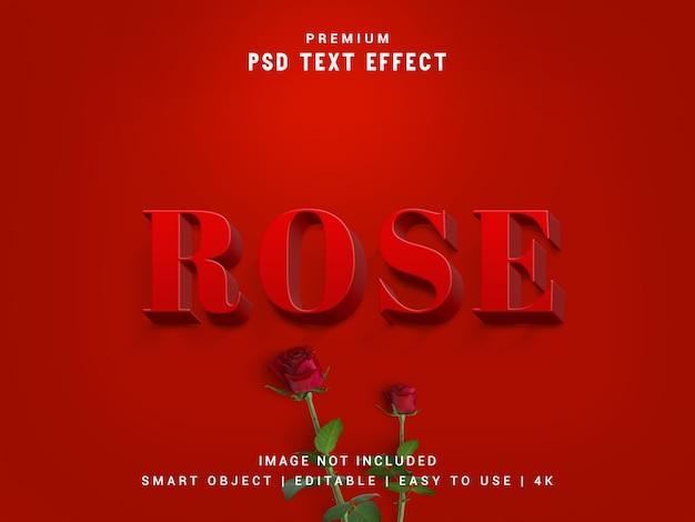 Rose premium psd-texteffekt, realistisches 3d-modell, ebenenstil, ersetzen intelligenter objekte.