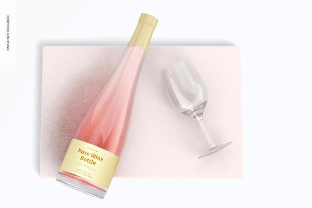 Rose wine bottle mockup, ansicht von oben