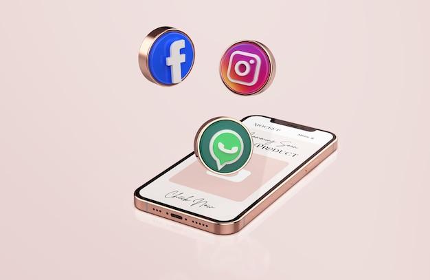 Roségold-handy-modell mit 3d-social-media-symbolen