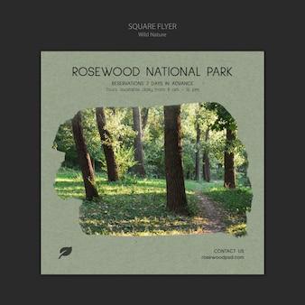 Rosenholz nationalpark flyer vorlage mit bäumen