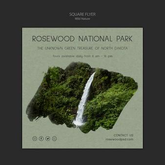 Rosenholz nationalpark flyer vorlage mit wasserfall