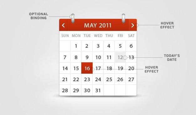 Rot und klassische kalender in einer psd geschichteten