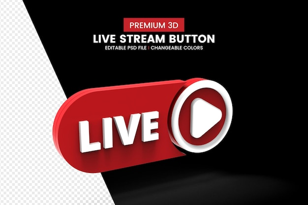 Rot und weiß 3d live steam button design isoliert