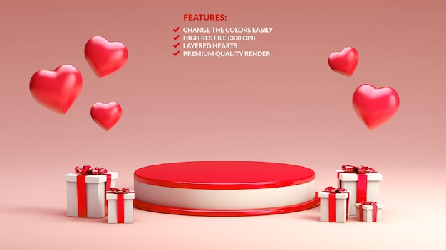 Rot-weiß-podium zum valentinstag in 3d-rendering für objektpräsentation
