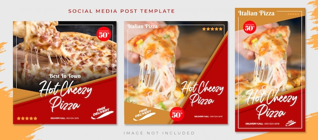 Rotbraune pizza-lebensmittel-social media-beitrags-schablone