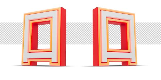 Rote 3d-nummer im japan-stil mit orangefarbenem neonlicht, 3d-rendering. Premium PSD