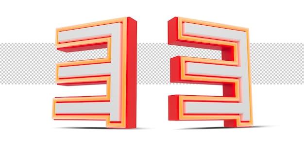 Rote 3d-nummer im japan-stil mit orangefarbenem neonlicht, 3d-rendering.