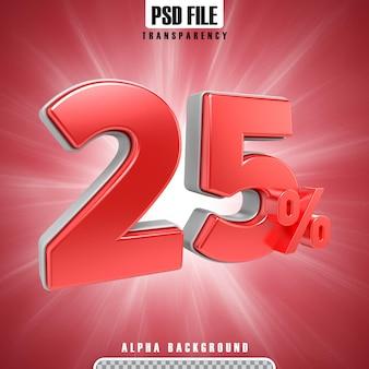 Rote 3d-prozentsätze 25 prozent