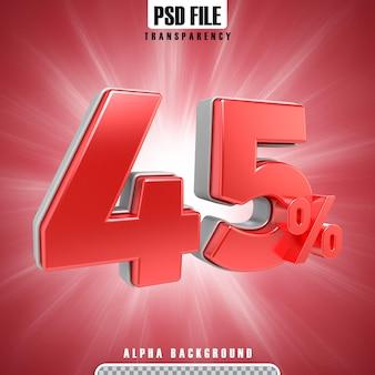 Rote 3d-prozentsätze 45 prozent