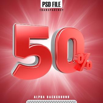 Rote 3d-prozentsätze 50 prozent
