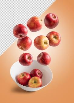 Rote äpfel, die auf bearbeitbarem hintergrund in eine schüssel fallen